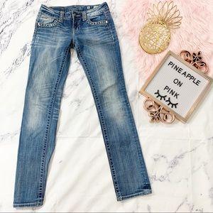 Miss Me Straight Rhinestone Studded Jeans 26